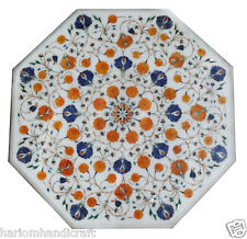 """23"""" Marble White Coffee Table Top Lapis Floral Hakik Mosaic Inlay Home Arts H840"""
