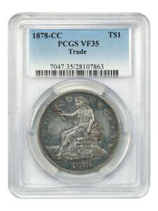 1878-CC Trade$ PCGS VF35 - US Trade Dollar - Scarce Carson City Issue