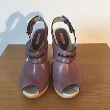 Bimba & Lola Cuero Zapatos de plataforma taco de madera marrón EUR 39/UK 6 en muy buen estado £ 225