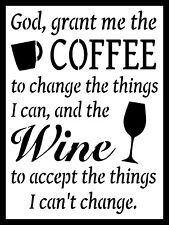 """God Grant Me Coffee And Wine, Retro metal Sign/Plaque, Gift 10"""" x 8"""" Large"""