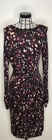 Stunning GHOST LONDON Red Black Patterned Ruched Long Sleeved Dress UK 12