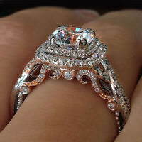 Luxury 2ct White Sapphire Wedding Ring 925 Silver Bride Engagement Jewelry Gifts