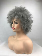 Women Short Brown Afro Fluffy Pixie None Lace Kinky Curly Curls Hair Wigs grey