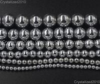 Natural Hematite Gemstone Round Ball Beads 16'' Silver 2mm 3mm 4mm 6mm 8mm 10mm