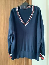 BNWT M&S COLLECTION BEAUTIFUL LONG COTTON FINE KNIT V NECK JUMPER XL 20/22 NAVY