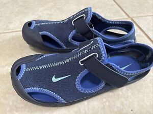 Nike Sunray Protect Sandal Shoes Blue Youth Size 3Y Beach Pool Sandal