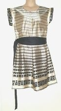 NEXT IVORY BLACK SILKY BELTED PLEAT FRONT TUNIC SHIFT DRESS 14 & CORD BELT