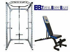 Heavy Duty Power Rack Squat Cage Cable Pulley with Adjustable Bench Home Gym