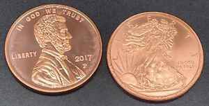 Lot Of 2 1oz Walking Liberty - Lincoln Cent Copper Coins .999 Round 2 oz's Total