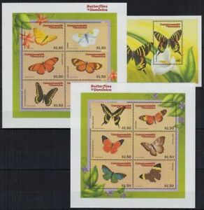 Dominica 2000 MNH 2 SS + 1 MS, Butterflies, Insects