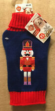 """Dog Winter Sweater Pullover Style Navy & Red - Nutcracker Embrodried - XS 8"""""""