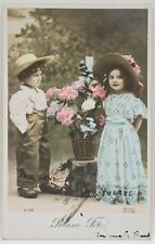 Antique 1906 Colored Postcard Children Playing Flowers Basket (ELD 4192)