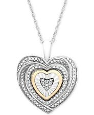 $200 DIAMOND GOLD HEART PENDANT Necklace MOTHERS DAY Sterling Silver Gift Box NE