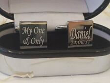 Personalised Silver Plated Square Cufflinks In Chrome Case ENGRAVED FREE