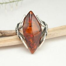 HANDMADE AUTHENTIC BALTIC AMBER 925 STERLING SILVER RING SZ 6 1/4 JEWELRY 10114