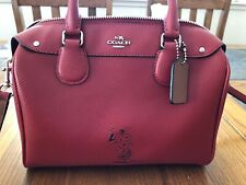 COACH PEANUTS RED LEATHER SNOOPY MINI BENNET SATCHEL Bag w/ Shoulder Strap