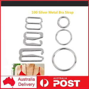 100 Silver metal bra strap adjuster slider/hooks/o ring lingerie sewing cra JR