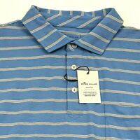 Peter Millar Mens L Golf Polo Shirt Blue Striped Stretch Athletic $89 MSRP NWT