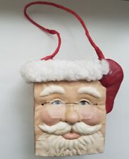 Christmas Santa with glasses seramic mold basket planter HANDPAINTED