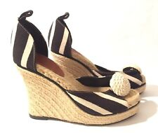 Kate Spade Black Ivory Striped/Flower Peep-Toe Rope Wedge Platform Sandal Sz 7