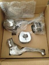 "harley chrome handlebar controls 11/16"" brake clutch levers switch housings 96+"