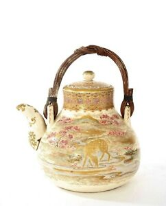 Japanese Satsuma Earthenware Tea Kettle Teapot Stag & Deer Maple Tree - AS IS