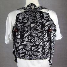 Drawstring Hippie Backpack Rucksack Bag Boho Aztec Hippy Black & White