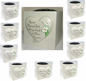 Lily Heart Memorial Flower Vase (Rose Bowl) Garden Ornament Grave Side Tribute