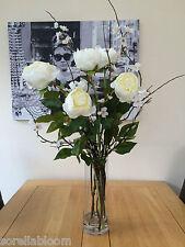 GORGEOUS X-LARGE PEONY & BLOSSOM ARTIFICIAL FLOWER VASE ARRANGEMENT - DEEP WATER