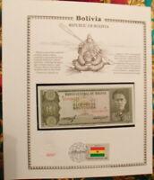 Bolivia Banknote 10 Pesos 1962 P 154 UNC w ith UN FDI FLAG STAMP prefix U