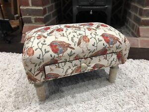 40cm Bird Design Robins Fabric Footstool With Drawer - Christmas New
