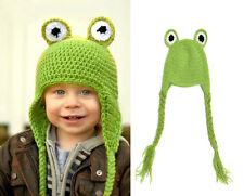Baby Green Frog Winter Spring Warm Beanie Crochet Knit Long Tail Hat Cap 0-12M