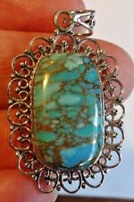 Superb Good Sized Sterling Silver and Copper Filled Turquoise Pendant 6.8g