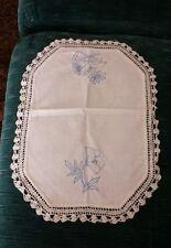 "Vintage ~ Crochet Doily ~ Ivory With Blue ~ 17"" x 12"""