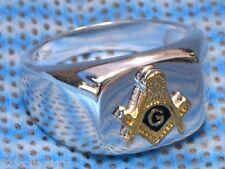925 Sterling Silver Two Tone No Stone Free Mason Masonic Men's Ring Size 14