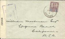 Malaya JOHORE-SG#113(Single frank) BEKOK 29/NO/1939-WWII CENSOR TAPE-PASSED