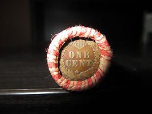 SEALED WHEAT INDIAN HEAD PENNY MIX SHOTGUN ROLL WITH INDIAN CENT END COIN USA DY