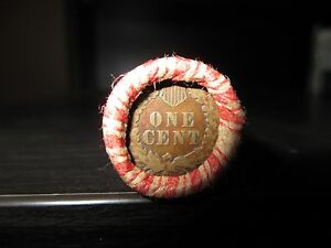 SEALED WHEAT INDIAN HEAD PENNY MIX SHOTGUN ROLL WITH INDIAN CENT END COIN USA 7J
