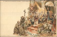 Hungary 1890s Government Postal Card in Color Religious Scene Postcard