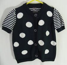 'TU' Dark Blue White Striped Spotted Short Sleeve Cardigan - Size 2-3 Years