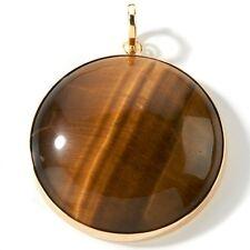 Technibond Round Gemstone Tiger Eye Enhancer Pendant 14K Yellow Gold Clad Silver