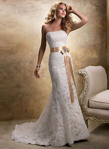 Elegant Lace Wedding Dresses Yellow/White Sash Size 6 8 10 12 14 16 18 Custom Ma