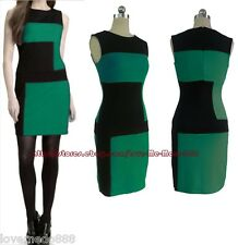 Colour block fitted WIGGLE PENCIL SHIFT SHEATH wear work OL bodycon dress LARGE