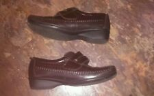 🎀Brown Mock Croc Velcro Fastening Padders Leather Shoes Size UK 4🎀