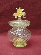 ANTIQUE ITALIAN VENETIAN MURANO ART GLASS DRESSER JAR with GOLD MICA INCLUSIONS