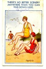 Pretty Girls-Beach-Swimsuits-Signed McGill-Vintage Comic Humor Bamforth Postcard