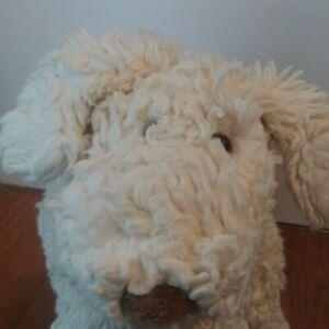 "1991 Gund Trouble Puppy Dog Stuffed Plush White Shaggy 20"""