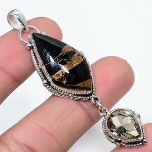 "Black Copper Mojave Turquoise & Smokey Quartz 925 Sterling Silver Pendant 2.7"" T"