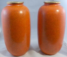 "Pair Of Signed Orange Antique Chinese Porcelain Crackle Glaze Vases? 12 1/2"" H"