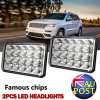 """Pair DOT 4x6""""150W LED Headlights Hi-Lo Square Sealed Beam Projector Driving Lamp"""